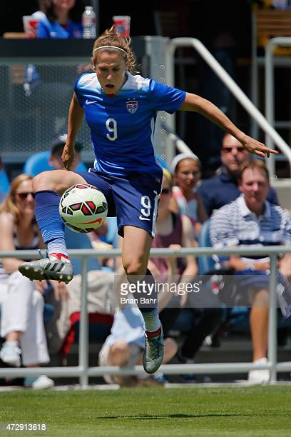 Heather O'Reilly of the United States jumps to bring down a ball against Ireland during the second half of their international friendly match on May...