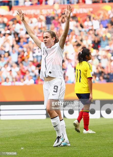 Heather O'Reilly of the USa celebrates her goal during the the FIFA Women's World Cup 2011 Group C match between the USA and Colombia at the Rhein...