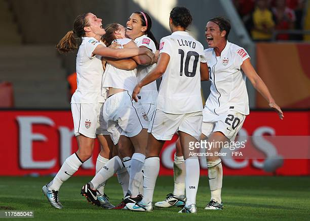 Heather O'Reilly Rachel Buehler Alex Morgan Carli Lloyd and Abby Wambach of USA celebrate Buehler's goal against Korea DPR during the FIFA Women's...