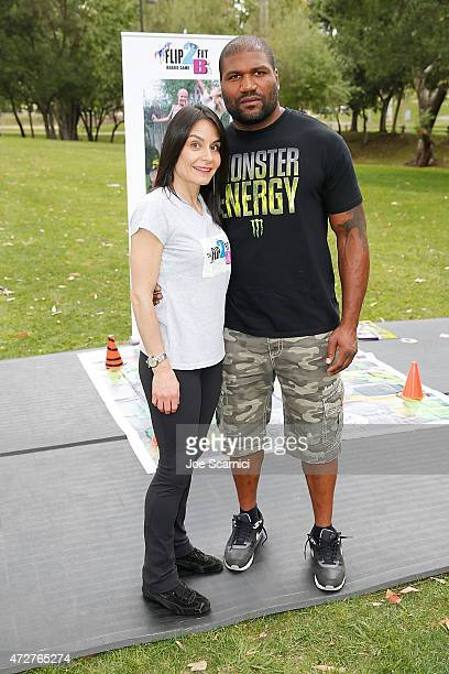 Heather Parisi and Quinton 'Rampage' Jackson host Fit2BKids/Flip2BFit Fitness Day at El Toro Park on May 9 2015 in Lake Forest California