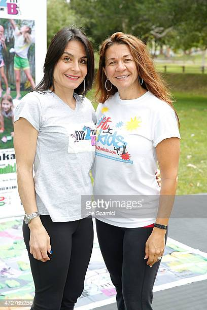 Heather Parisi and Shae Gawlak attend Fit2BKids/Flip2BFit Fitness Day Hosted By UFC's Quinton 'Rampage' Jackson at El Toro Park on May 9 2015 in Lake...