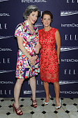Heather Podesta and Stephanie Ruhle attend a reception hosted by ELLE EditorinChief Robbie Myers and Center for American Progress President Neera...