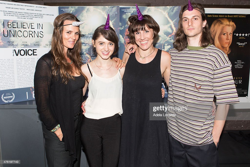 Heather Rae Natalia Dyer Leah Meyerhoff and Peter Vack attend the 'I Believe In Unicorns' New York Premiere at IFC Center on May 29 2015 in New York...
