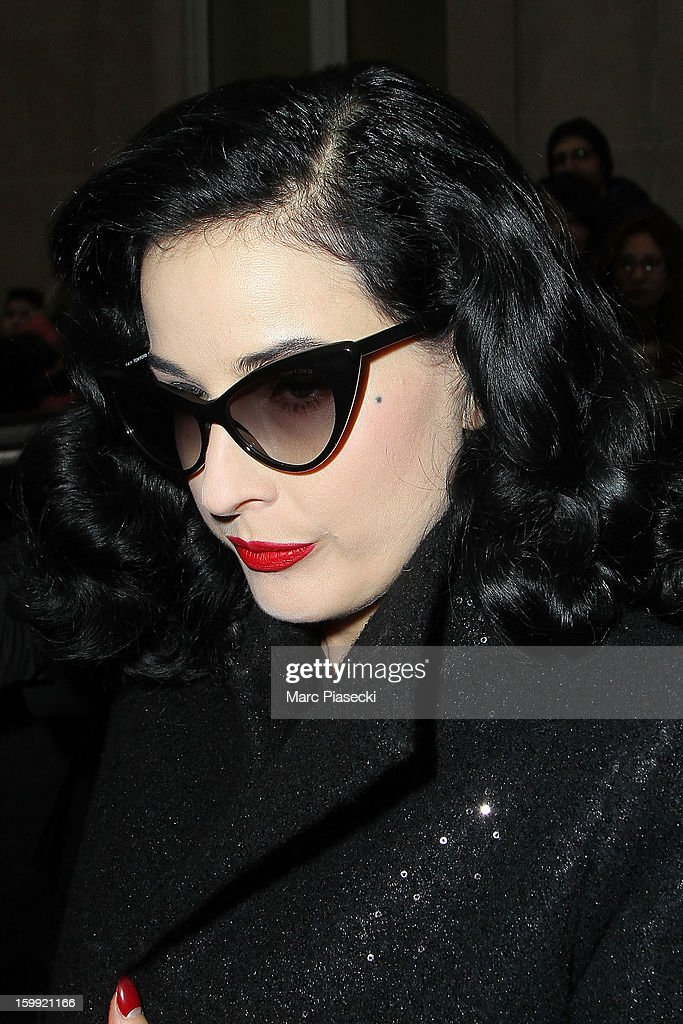 Heather Renee Sweet aka Dita von Teese arrives to attend the Elie Saab Spring/Summer 2013 Haute-Couture show as part of Paris Fashion Week at Pavillon Cambon Capucines on January 23, 2013 in Paris, France.
