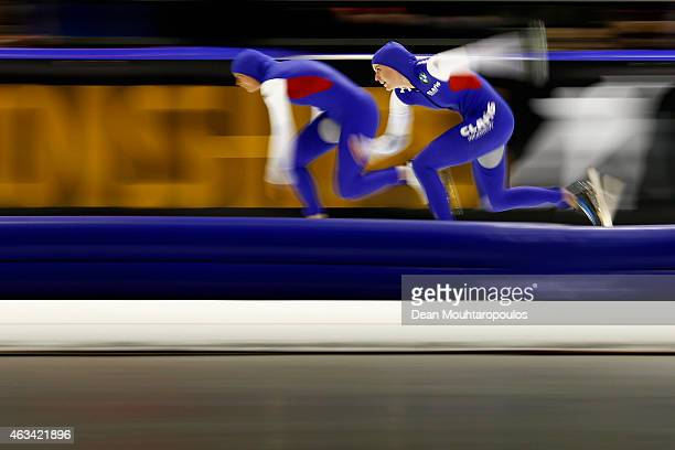 Heather Richardson and Brittany Bowe both of the USA compete in the Ladies 500m race during day 3 of the ISU World Single Distances Speed Skating...