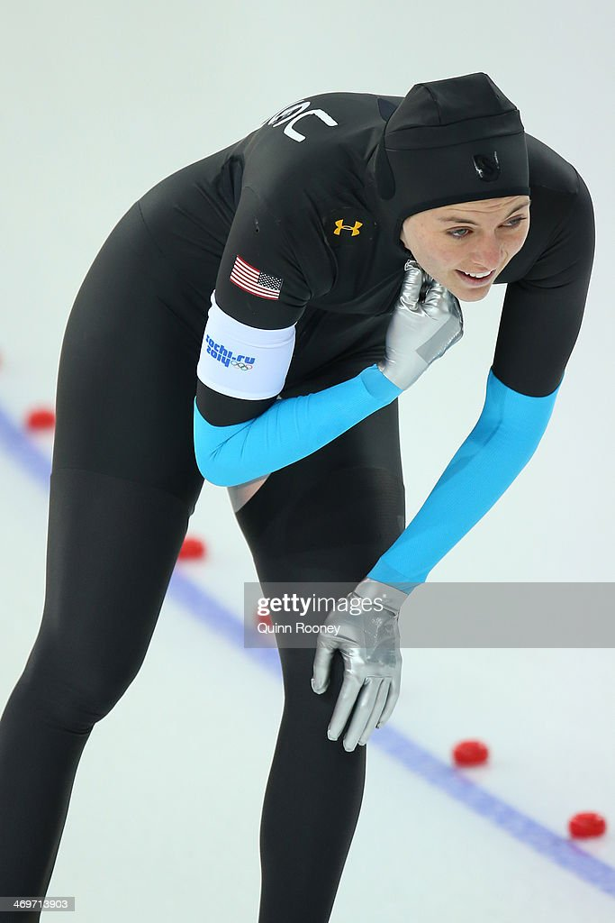 <a gi-track='captionPersonalityLinkClicked' href=/galleries/search?phrase=Heather+Richardson&family=editorial&specificpeople=5762781 ng-click='$event.stopPropagation()'>Heather Richardson</a> of the United States reacts after competing during the Women's 1500m Speed Skating event on day 9 of the Sochi 2014 Winter Olympics at Adler Arena Skating Center on February 16, 2014 in Sochi, Russia.