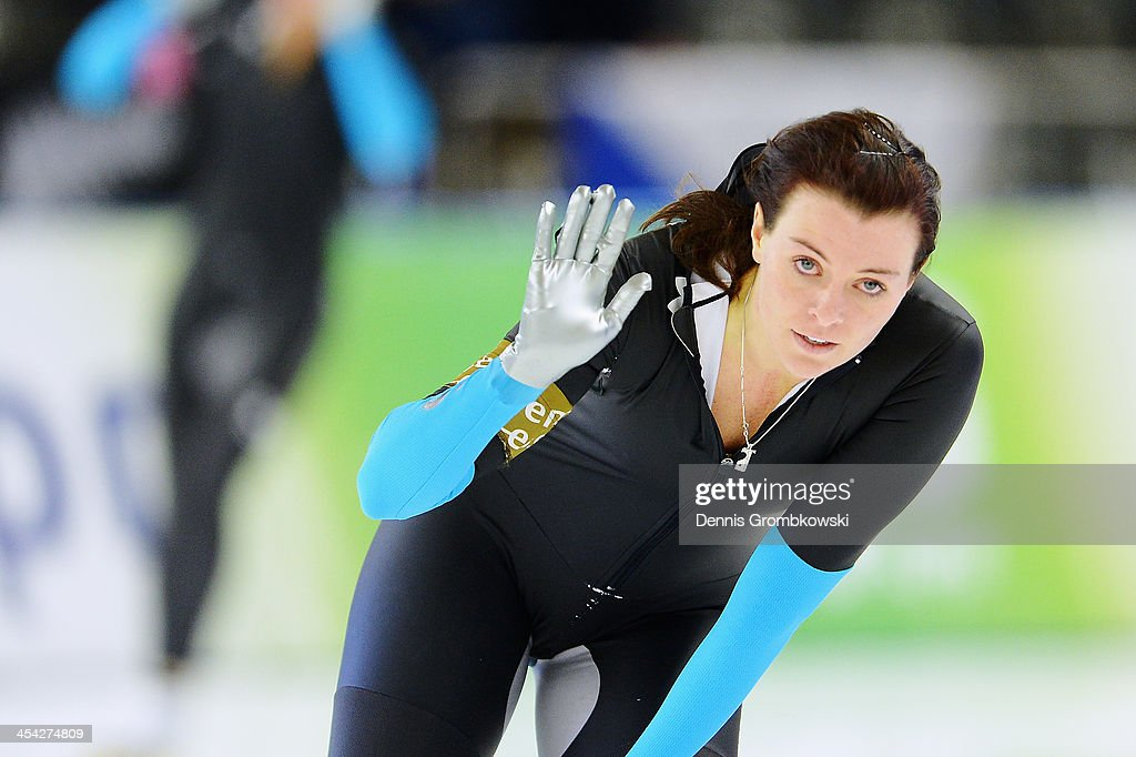 <a gi-track='captionPersonalityLinkClicked' href=/galleries/search?phrase=Heather+Richardson&family=editorial&specificpeople=5762781 ng-click='$event.stopPropagation()'>Heather Richardson</a> of the United States reacts during Day 3 of the Essent ISU World Cup on December 8, 2013 in Berlin, Germany.