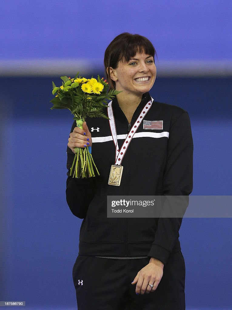 <a gi-track='captionPersonalityLinkClicked' href=/galleries/search?phrase=Heather+Richardson&family=editorial&specificpeople=5762781 ng-click='$event.stopPropagation()'>Heather Richardson</a> of the U.S. reacts to her gold medal in the women's 1000 meter race during the ISU World Cup Speed Skating event November 10, 2013 in Calgary, Alberta, Canada.