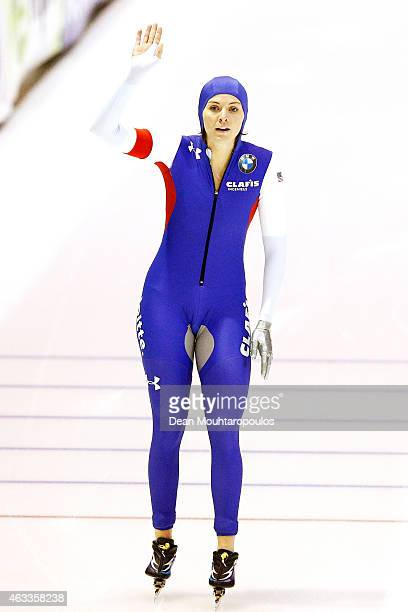 Heather Richardson of the USA celebrates crossing the finish line after she competes in the Ladies 1000m race during day 2 of the ISU World Single...