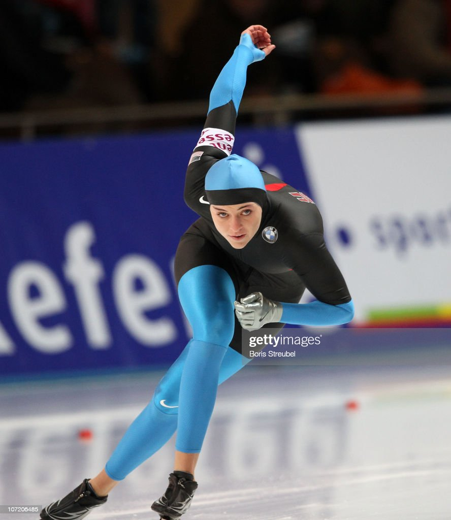 <a gi-track='captionPersonalityLinkClicked' href=/galleries/search?phrase=Heather+Richardson&family=editorial&specificpeople=5762781 ng-click='$event.stopPropagation()'>Heather Richardson</a> of the USA competes in the women's 1000 m Division A race during the Essent ISU World Cup Speed Skating on November 21, 2010 in Berlin, Germany.