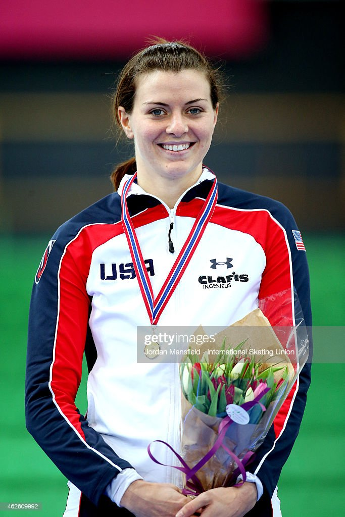 <a gi-track='captionPersonalityLinkClicked' href=/galleries/search?phrase=Heather+Richardson&family=editorial&specificpeople=5762781 ng-click='$event.stopPropagation()'>Heather Richardson</a> of the USA poses for a picture after winning the 3000m Ladies Division B on day 2 of the ISU Speed Skating World Cup at the Hamar Olympic Hall on February 1, 2015 in Hamar, Norway.