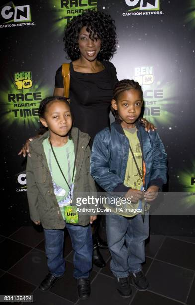 Heather Small and family arrive for the premiere of 'Ben 10 Race Against Time' at the Vue in Leicester Square London