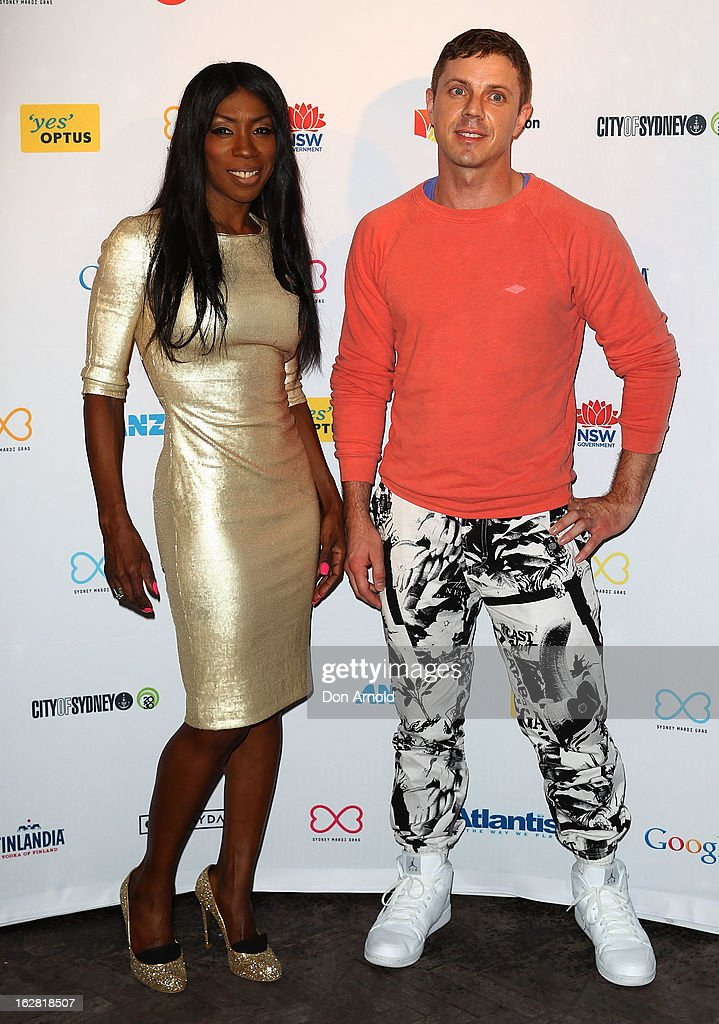 Heather Small and <a gi-track='captionPersonalityLinkClicked' href=/galleries/search?phrase=Jake+Shears&family=editorial&specificpeople=204691 ng-click='$event.stopPropagation()'>Jake Shears</a> pose at a Sydney Mardis Gras VIP party photo call at Kit and Kaboodle bar on February 28, 2013 in Sydney, Australia.