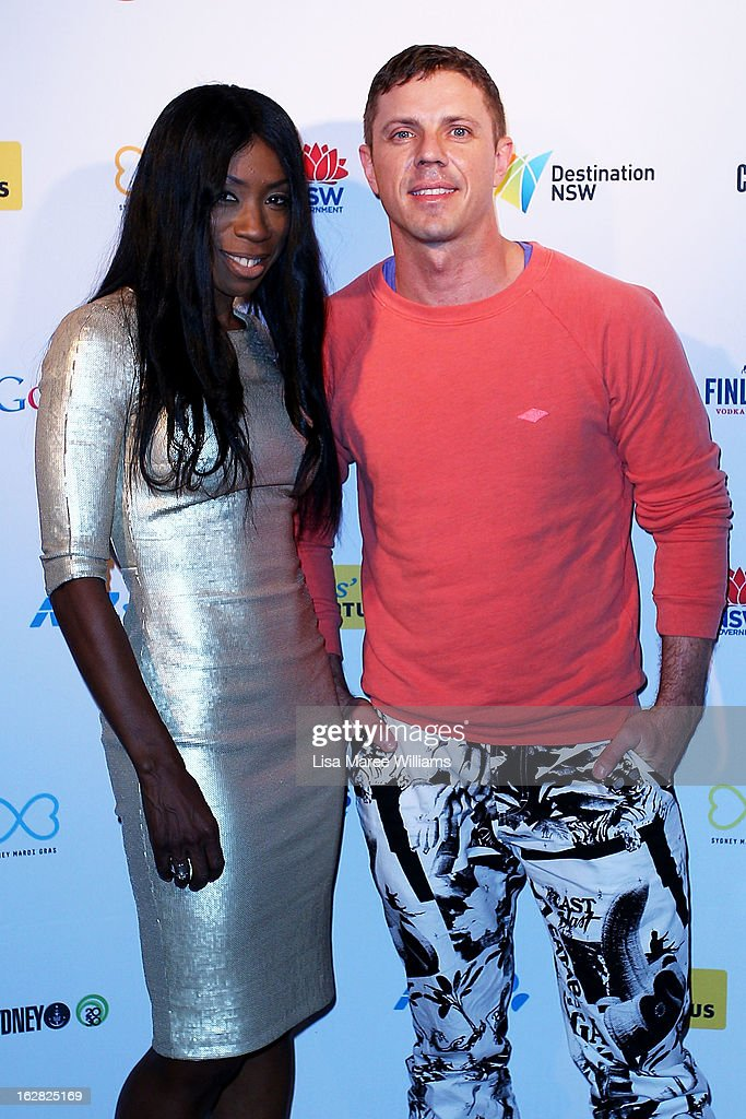 Heather Small and <a gi-track='captionPersonalityLinkClicked' href=/galleries/search?phrase=Jake+Shears&family=editorial&specificpeople=204691 ng-click='$event.stopPropagation()'>Jake Shears</a> pose during a Sydney Mardi Gras VIP photo call at the Kit and Kaboodle Bar on February 28, 2013 in Sydney, Australia.