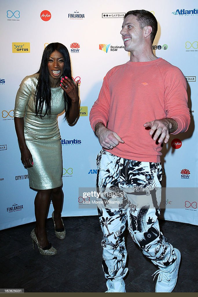 Heather Small and <a gi-track='captionPersonalityLinkClicked' href=/galleries/search?phrase=Jake+Shears&family=editorial&specificpeople=204691 ng-click='$event.stopPropagation()'>Jake Shears</a> pose during a Sydney Mardis Gras VIP photo call at the Kit and Kaboodle Bar on February 28, 2013 in Sydney, Australia.