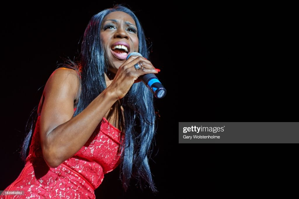 Heather Small of M People performs on stage at Manchester Arena on October 10, 2013 in Manchester, England.