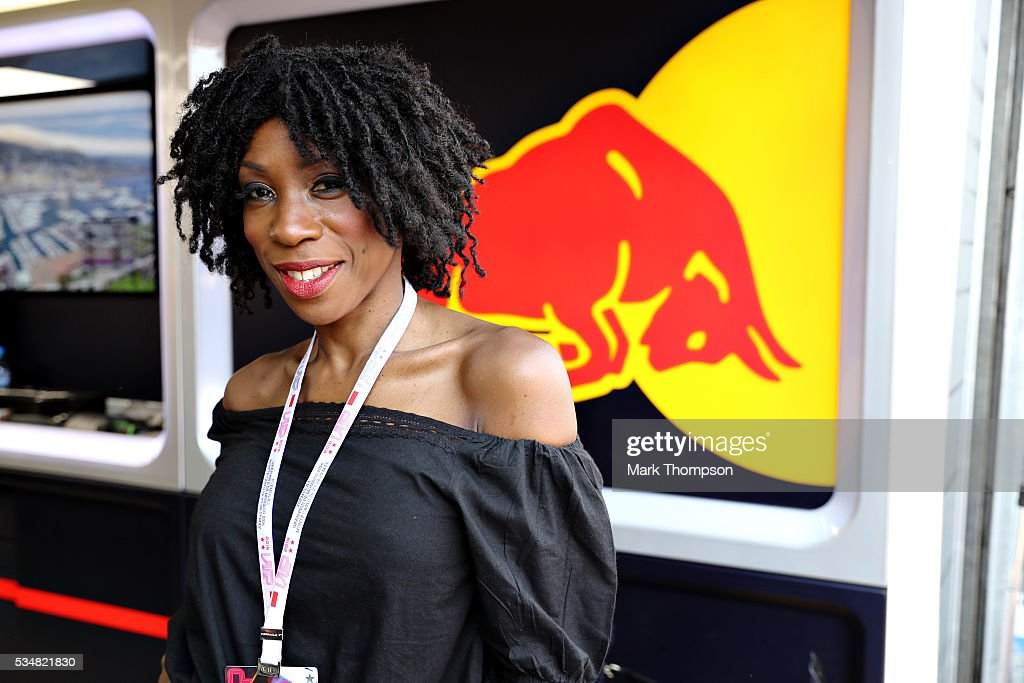 Heather Smalls, singer, outside the Red Bull Racing garage during qualifying for the Monaco Formula One Grand Prix at Circuit de Monaco on May 28, 2016 in Monte-Carlo, Monaco.