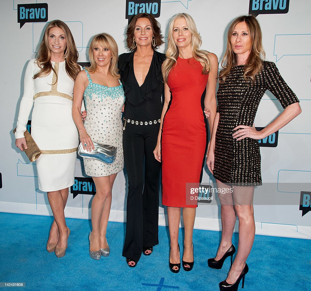 Heather Thomson, Ramona Singer, LuAnn de Lesseps, Aviva Drescher, and Carole Radziwill of The Real Housewives of New York City attend Bravo Upfront 2012 at Center 548 on April 4, 2012 in New York City.