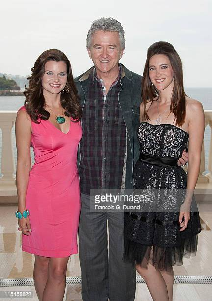 Heather Tom Patrick Duffy and Sandra Lou pose at Monte Carlo Bay hotel before they meet contest winners during the 2011 Monte Carlo Television...