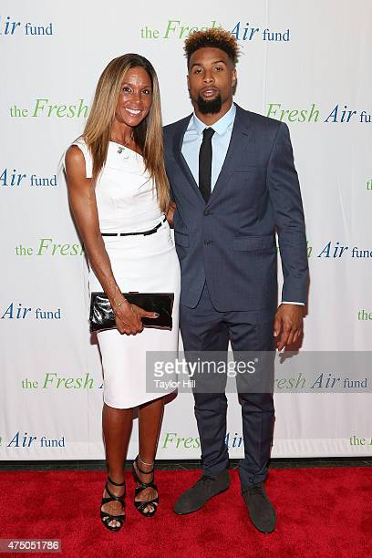 Heather Van Norman and son Odell Beckham Jr attend the 2015 Fresh Air Fund's Salute To American Heroes at Pier Sixty at Chelsea Piers on May 28 2015...