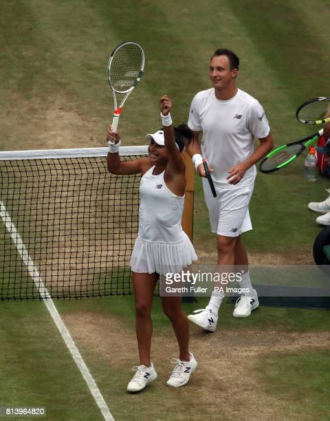 Heather Watson and Henri Kontinen celebrate their victory over in the mixed doubles match against Rohan Bopanna and Garbiela Dabrowski on day ten of...