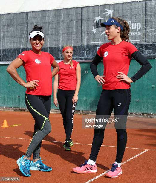 Heather Watson Katie Swan and Johanna Konta look on during a Great Britain Fed Cup training session at Tenis Club IDU on April 19 2017 in Constanta...