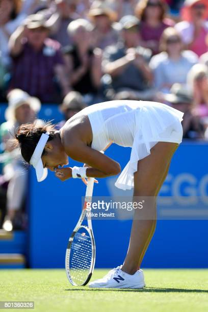 Heather Watson of GBR celebrates winning a point after a long rally during her victory over Dominika Cibulkova of Slovakia on Day 2 of the Aegon...