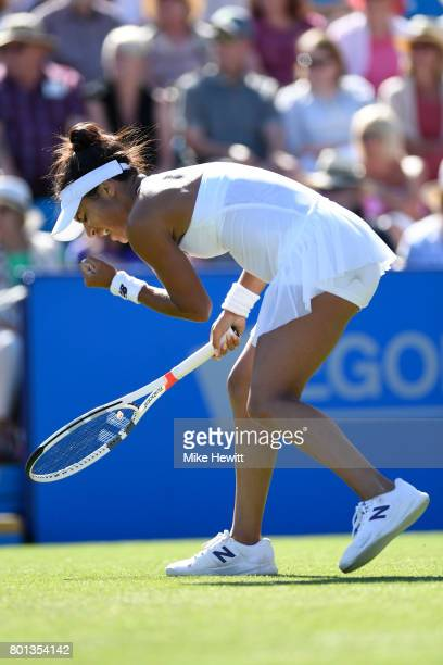 Heather Watson of GBR in action during her victory over Dominika Cibulkova of Slovakia on Day 2 of the Aegon International Eastbourne at Devonshire...
