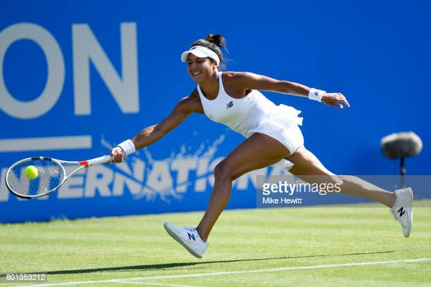 Heather Watson of GBR in action during her Vvictory over Dominika Cibulkova of Slovakia on Day 2 of the Aegon International Eastbourne at Devonshire...