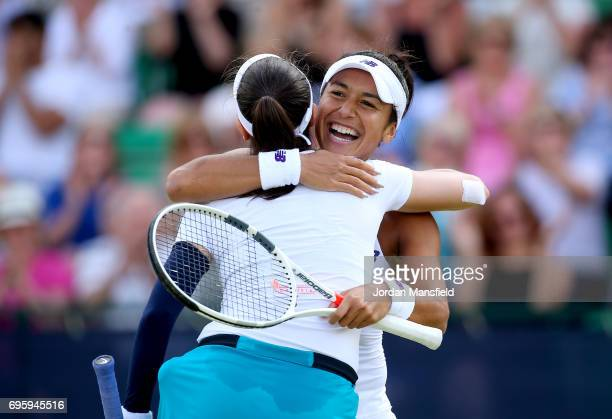 Heather Watson of Great Britain and Christina McHale of the USA celebrate their victory in their Women's doubles match against Mona Barthel of...