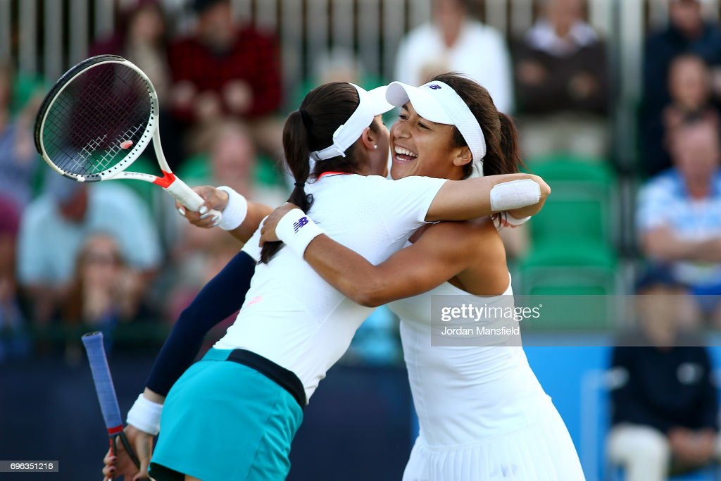 Heather Watson of Great Britain (R) and Christina McHale of the USA (L) celebrate victory in their Women's Doubles second round match against Lauren Davis and Alison Riske of the USA during day four of the Aegon Open Nottingham at Nottingham Tennis Centre on June 15, 2017 in Nottingham, England.