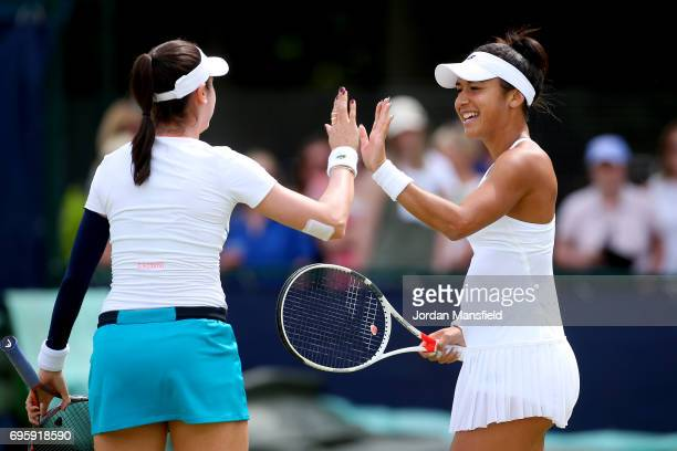 Heather Watson of Great Britain and Christina McHale of the USA during their Women's doubles match against Mona Barthel of Germany and Anastasija...