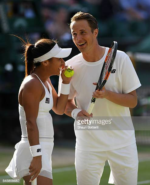 Heather Watson of Great Britain and Henri Kontinen of Finland in conversation during the Mixed Doubles Final against Robert Farah of Columbia and...