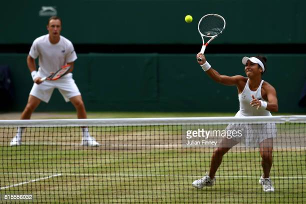 Heather Watson of Great Britain and Henri Kontinen of Finland in action during the Mixed Doubles final match against Jamie Murray of Great Britain...