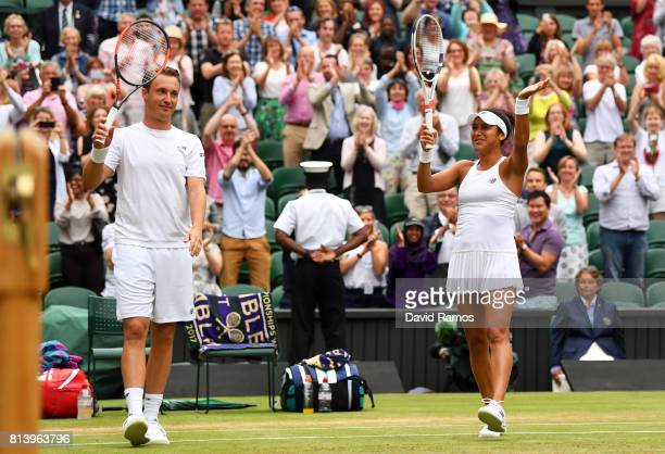 Heather Watson of Great Britain and Henri Kontinen of Finland acknowledge the crowd as they celebrate victory after the Mixed Doubles quarter final...