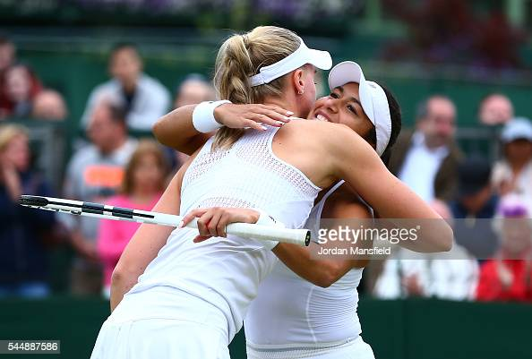 Heather Watson of Great Britain and Naomi Broady of Great Britain react following defeat in the Ladies Doubles third round match against Julia...
