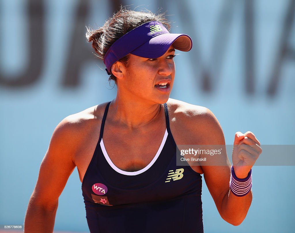 Heather Watson of Great Britain celebrates a point against Daria Gavrilova of Australia in their first round match during day two of the Mutua Madrid Open tennis tournament at the Caja Magica on May 01, 2016 in Madrid,Spain