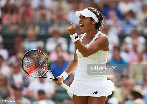 Heather Watson of Great Britain celebrates a point during her Ladies Singles Second Round match against Daniela Hantuchova of Slovakia during day...