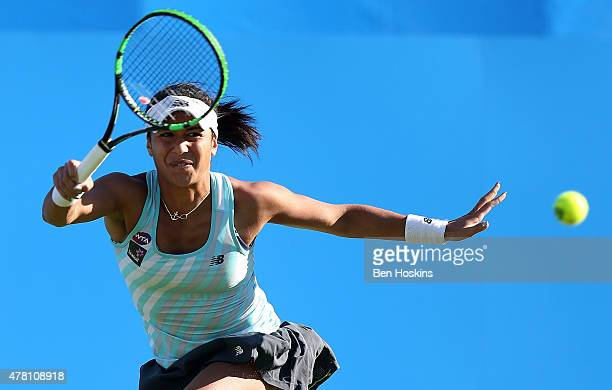 Heather Watson of Great Britain celebrates in action during her first round match against Vavara Lepchenko of The USA on Day Two of the Aegon...