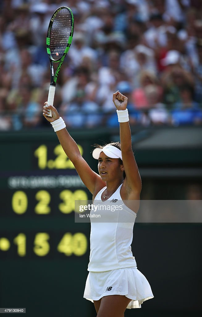 Heather Watson of Great Britain celebrates match point in her Ladies Singles Second Round match against Daniela Hantuchova of Slovakia during day three of the Wimbledon Lawn Tennis Championships at the All England Lawn Tennis and Croquet Club on July 1, 2015 in London, England.