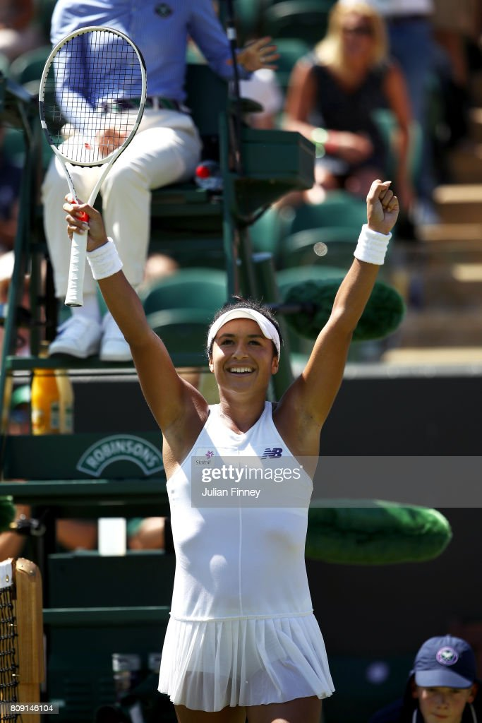 Heather Watson of Great Britain celebrates victory after the Ladies Singles second round match against Anastasija Sevastova of Latvia on day three of the Wimbledon Lawn Tennis Championships at the All England Lawn Tennis and Croquet Club on July 5, 2017 in London, England.
