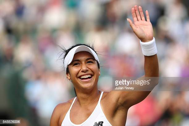 Heather Watson of Great Britain celebrates victory during the Mixed Doubles Quarter Finals match against Scott Lipsky of The United States and Alla...