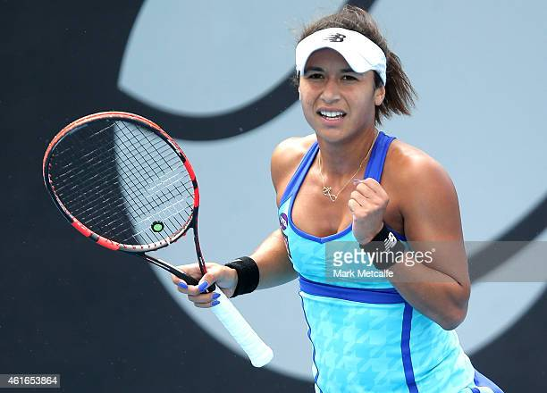 Heather Watson of Great Britain celebrates winning set point in her singles final match against Madison Brengle of the USA during day seven of the...