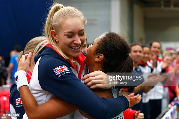 Heather Watson of Great Britain celebrates with Jocelyn Rae of Great Britain after she defeated Elina Svitolina of Ukraine during day three of the...