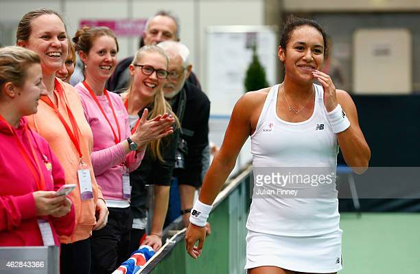 Heather Watson of Great Britain celebrates with supporters after defeating Elina Svitolina of Ukraine during day three of the Fed Cup/Africa Group...