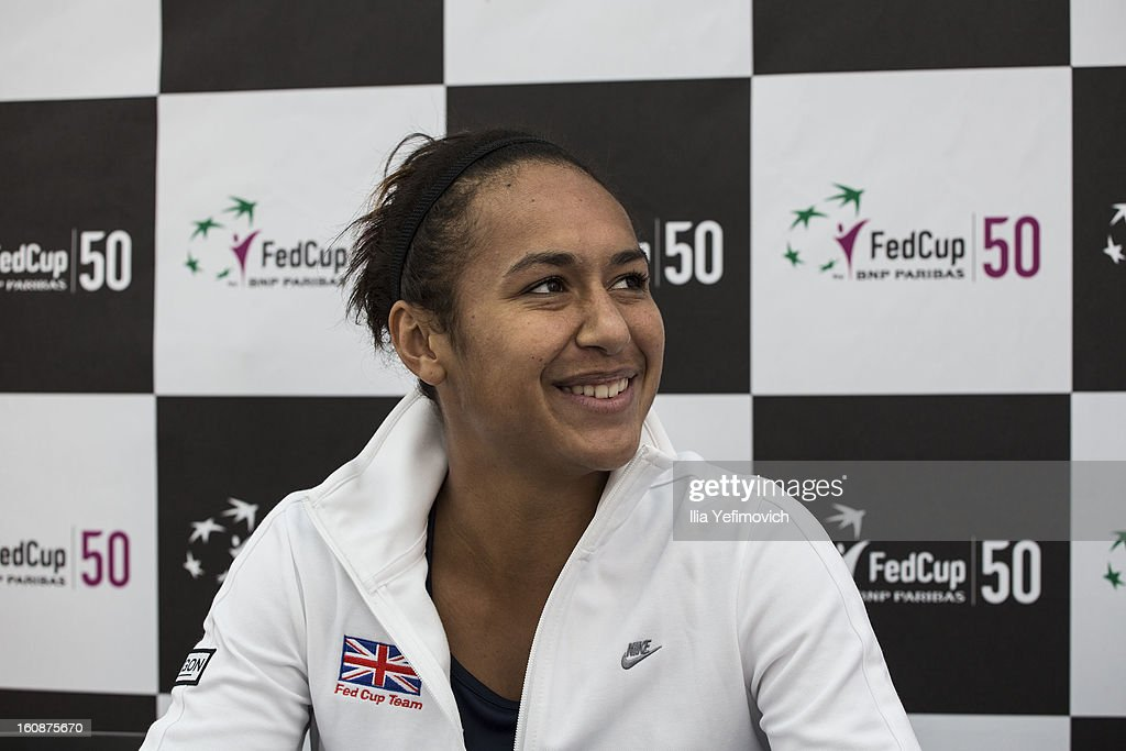 <a gi-track='captionPersonalityLinkClicked' href=/galleries/search?phrase=Heather+Watson&family=editorial&specificpeople=5418928 ng-click='$event.stopPropagation()'>Heather Watson</a> of Great Britain during a press conference after the tie between Great Britain and Bosnia and Herzegovina during the Fed Cup Europe/Africa Group One fixture at the Municipal Tennis Club on February 7, 2013 in Eilat, Israel.