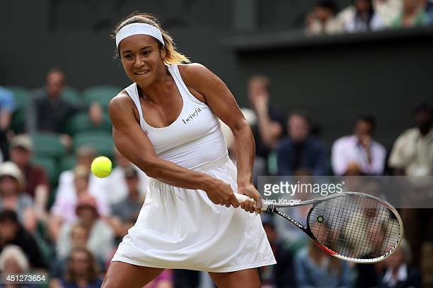 Heather Watson of Great Britain during her Ladies' Singles second round match against Angelique Kerber of Germany on day four of the Wimbledon Lawn...