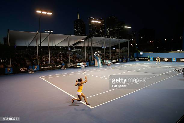 Heather Watson of Great Britain during her loss to Timea Babos of Hungary during day one of the 2016 Australian Open at Melbourne Park on January 18...