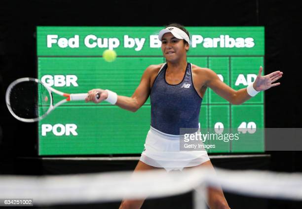Heather Watson of Great Britain during the Fed Cup Europe/Africa Group 1 Pool C Singles match against Ines Murta of Portugal at the Tallink Tennis...
