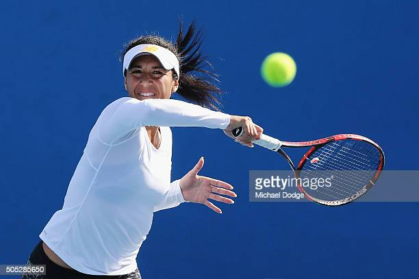 Heather Watson of Great Britain hits a forehand during a practice session ahead of the 2016 Australian Open at Melbourne Park on January 17 2016 in...